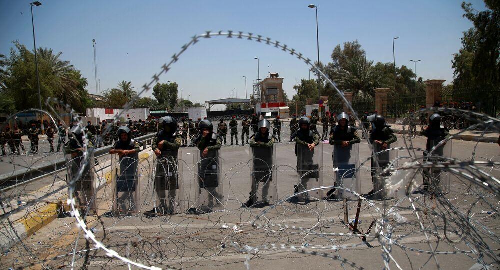قوات الأمن العراقية في المنطقة الخضراء، بغداد، العراق يوليو 2020