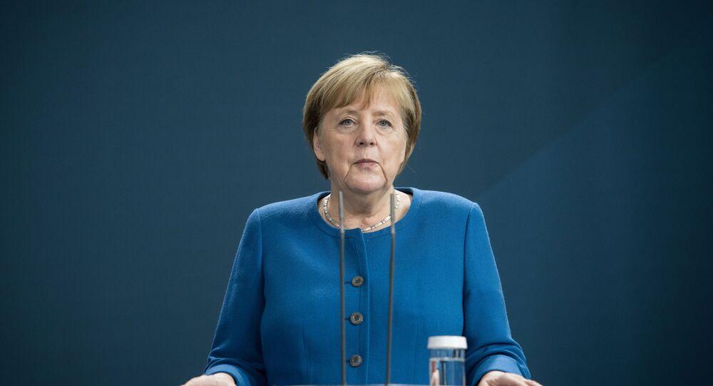 مؤتمر صحفي مشترك - المستشارة الألمانية أنجيلا ميركل ورئيس الوزراء العراقي مصطفى الكاظمي في برلين، ألمانيا، الاتحاد الأوروبي، 20 أكتوبر 2020