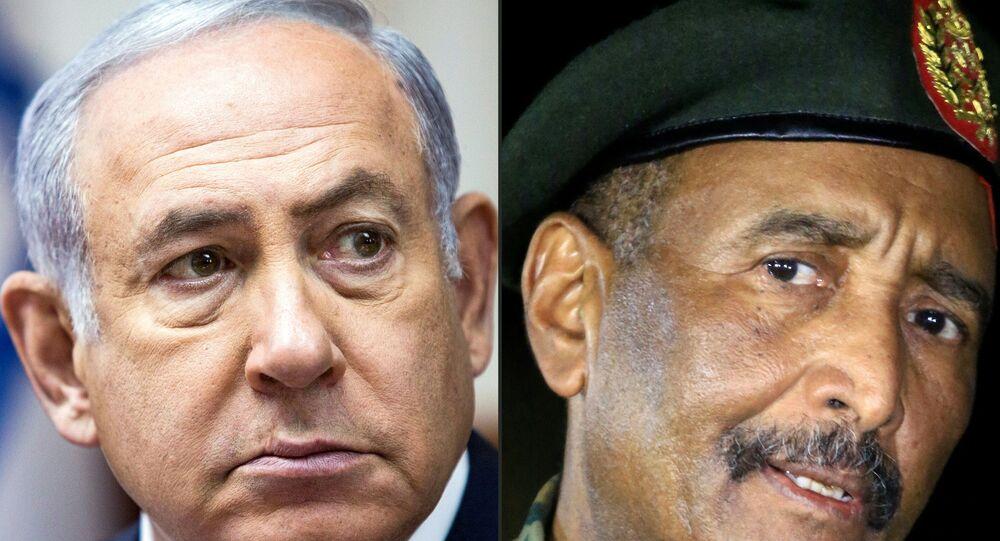 رئيس مجلس السيادة في السودان عبد الفتاح البرهان، رئيس الوزراء الإسرائيلي بنيامين نتنياهو