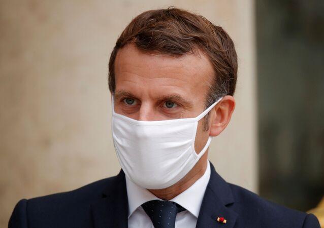 الرئيس الفرنسي إيمانويل ماكرون، (كورونا) في فرنسا، 28 أكتوبر 2020