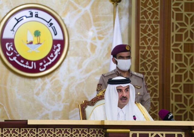 أمير قطر الشيخ تميم بن حمد آل ثاني يلقي كلمة أمام مجلس الشورى في الدوحة، قطر، 3 نوفمبر/ تشرين الثاني 2020