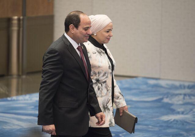 الرئيس المصري، عبد الفتاح السيسي وقرينته انتصار السيسي
