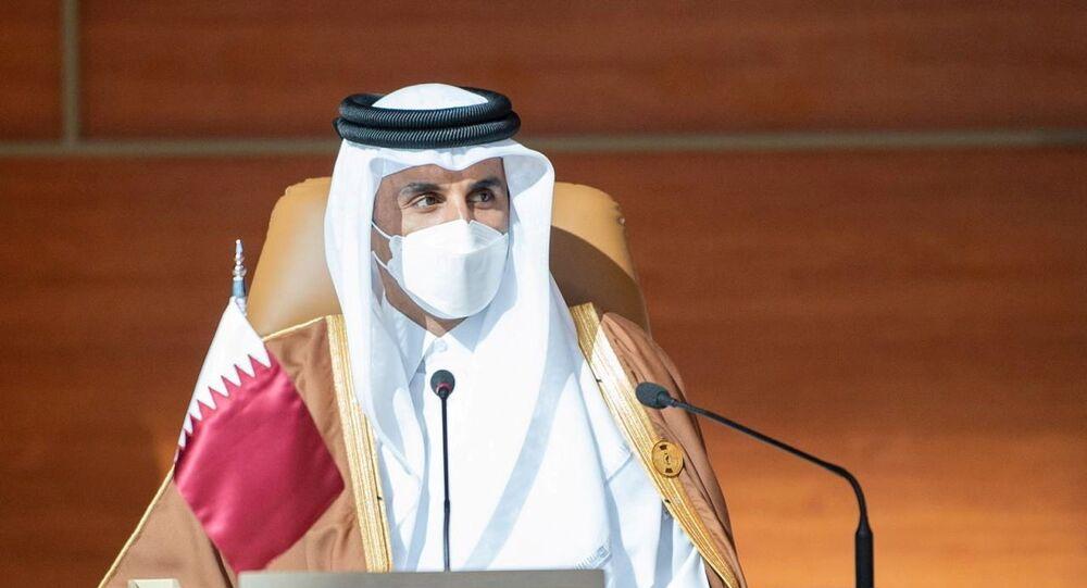 أمير قطر، الشيخ تميم بن حمد آل ثاني، يحضر القمة الـ41 لمجلس التعاون الخليجي في العلا، المملكة العربية السعودية ، 5 يناير/ كانون الثاني 2021