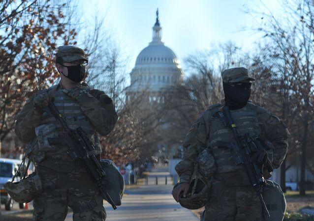 واشنطن قبل ساعات من تنصيب الرئيس المنتخب جو بايدن ونائبة الرئيس كامالا هاريس، الولايات المتحدة 20 يناير 2021