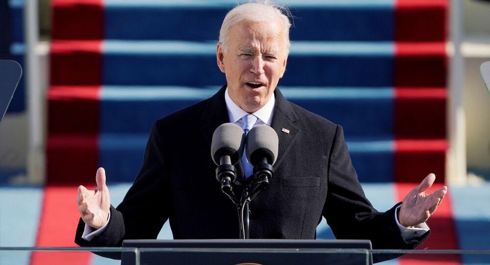 مراسم تنصيب جو بايدن رئيسا للولايات المتحدة، و كامالا هاريس نائبة للرئيس، الكابيتول، الكونغرس واشنطن، 20 يناير 2021