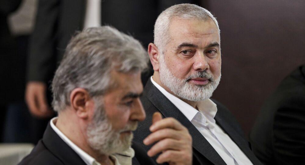 رئيس المكتب السياسي لحركة حماس إسماعيل هنية، وبجانبه الأمين العام لحركة الجهاد الإسلامي زياد النخالة، بيروت، لبنان 3 سبتمبر 2020