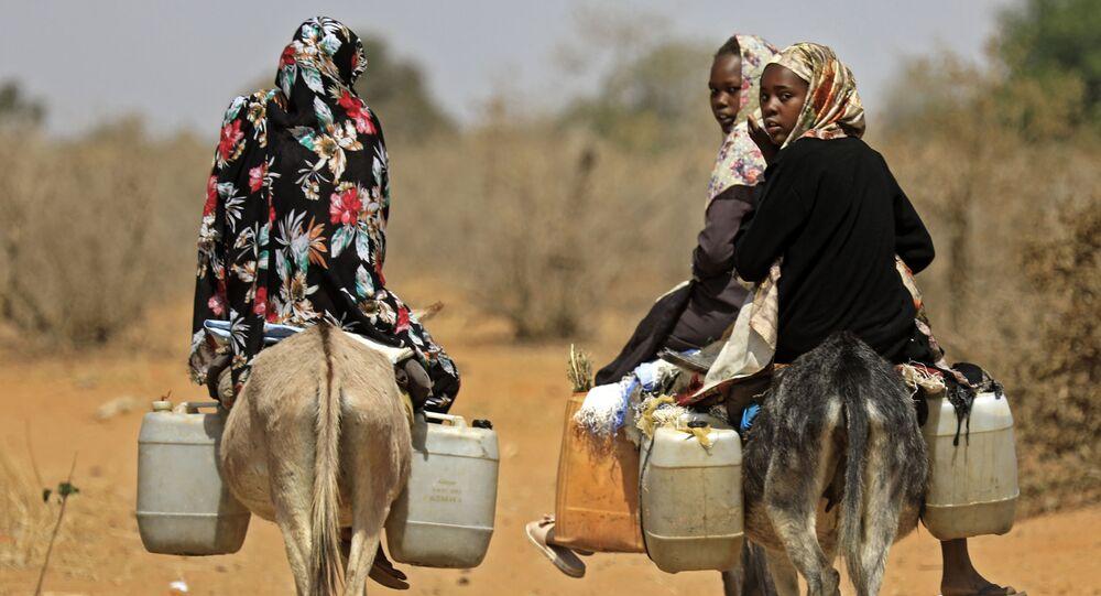 نساء سودانيات ينقلن المياه على ظهور الحمير في قرية الطويل سعدون ، 85 كيلومترًا جنوب مدينة نيالا، عاصمة جنوب دارفور، 2 فبراير 2021