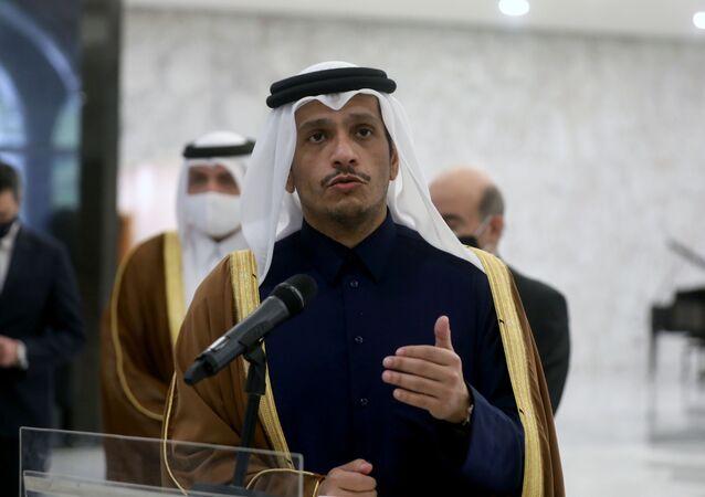 وزير الخارجية القطري الشيخ محمد بن عبد الرحمن آل ثاني في بيروت، لبنان 9 فبراير 2021