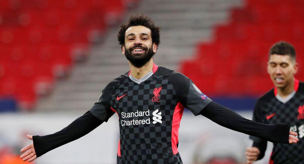 محمد صلاح بعد تسجيل هدف في مباراة ليفربول ولايبزيغ بدوري أبطال أوروبا