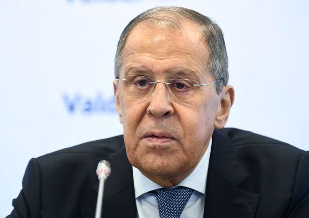 وزير الخارجية الروسي سيرغي لافروف يشارك في مؤتمر الشرق الأوسط لنادي فالداي الدولي للحوار في موسكو، 31 مارس 2021