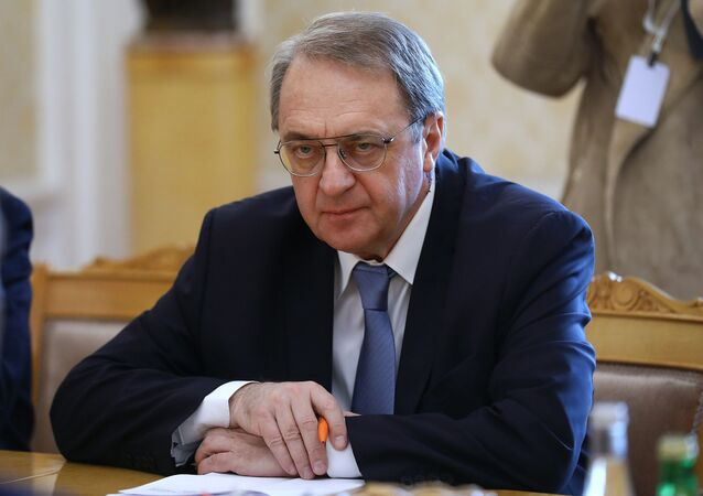 نائب وزير الخارجية الروسي ميخائيل بوغدانوف يلتقي مع رئيس الوزراء اللبناني المكلف سعد الحريري في موسكو، روسيا 16 أبريل 2021