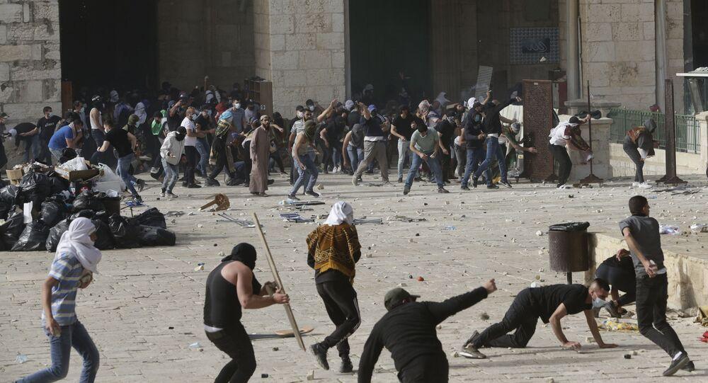 أحداث - الشيخ جراح - اشتباكات بين الجانبين الفلسطيني والإسرائيلي، ساحة الأقصى، القدس، مسجد الأقصى، فلسطين 10 مايو 2021