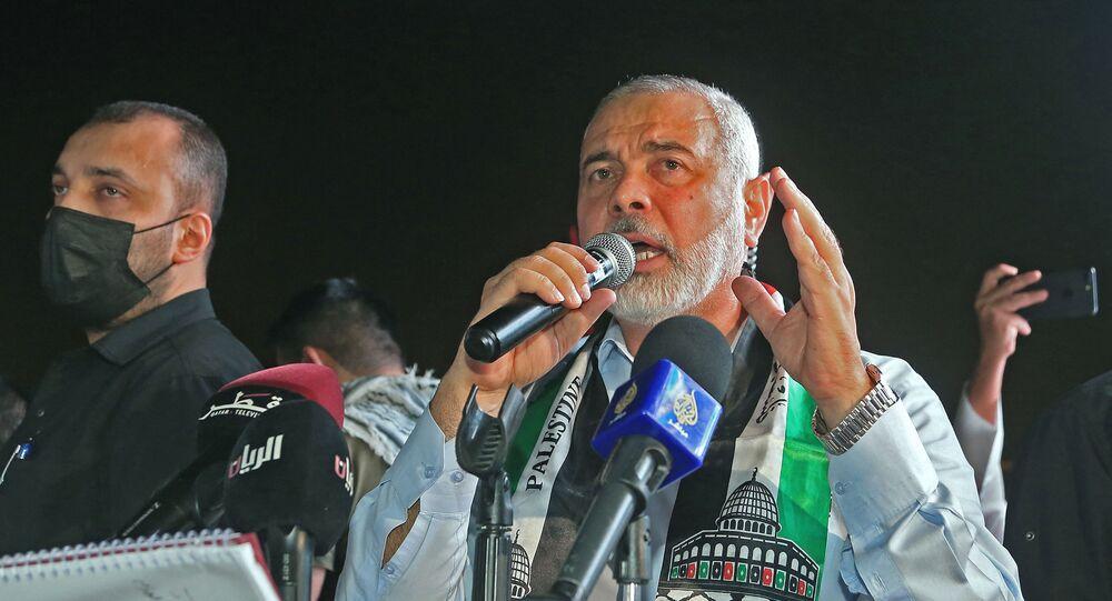 رئيس المكتب السياسي لحركة حماس، إسماعيل هنية في الدوحة