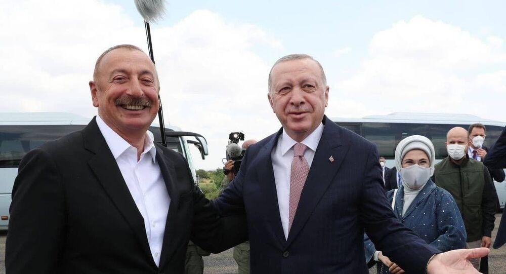 لقاء رئيسي الرئيس التركي رجب طيب أردوغان ورئيس أذربيجان إلهام علييف في منطقة فيزولي الأذربيجانية