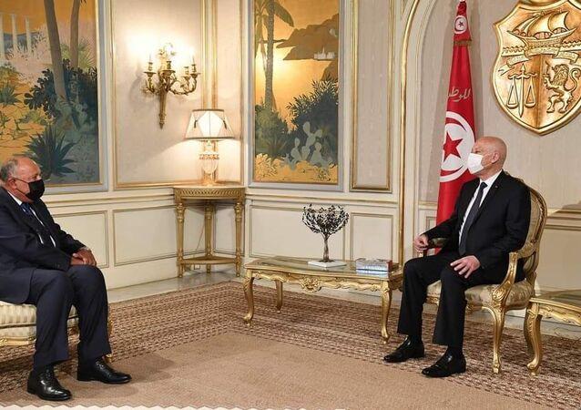 رئيس الجمهورية في تونس قيس سعيد يستقبل وزير الخارجية المصري سامح شكري
