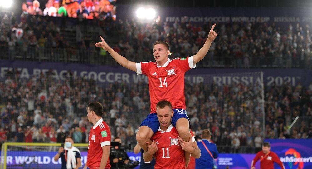 فرحة المنتخب الروسي  بفوزة بكأس العالم لكرة القدم الشاطئية 2021