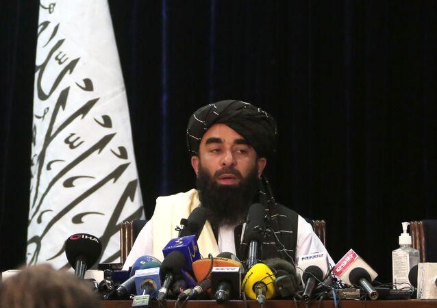 ممثل حركة طالبان (المحظورة في روسيا) ذبيح الله مجاهد، أفغانستان