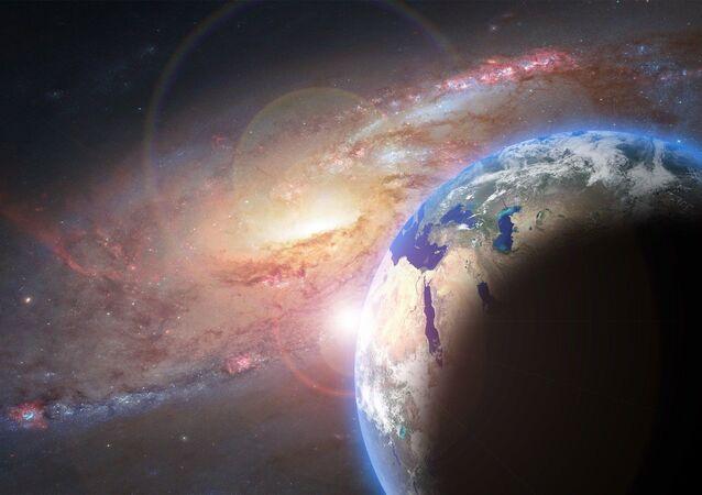 كوكب الأرض إلى جانب مجرة في مشهد خيالي