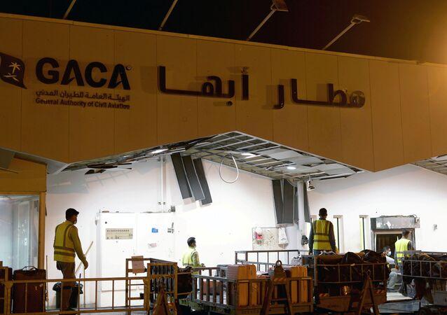 مطار أبها السعودي بعد القصف اليمني الحوثي، السعودية 31 أغسطس 2021