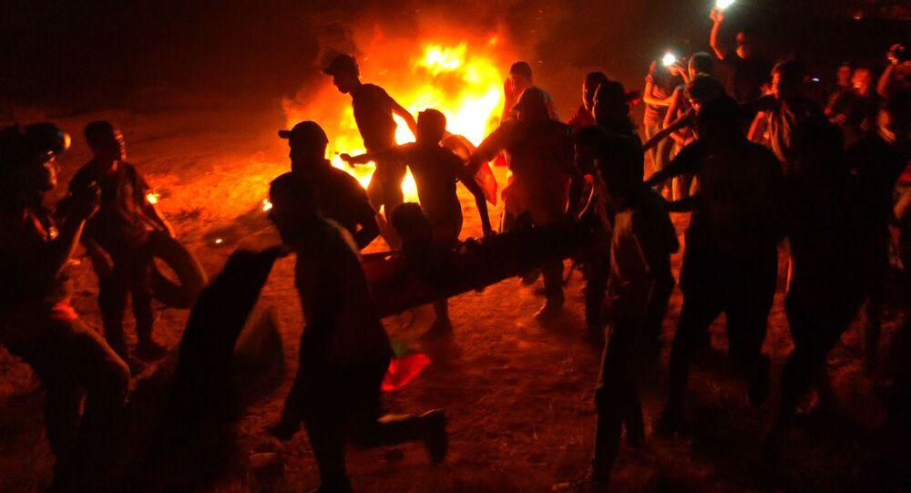 استمرار تصعيد فعاليات الارباك الليلي على حدود قطاع غزة، فلسطين 6 سبتمبر 2021