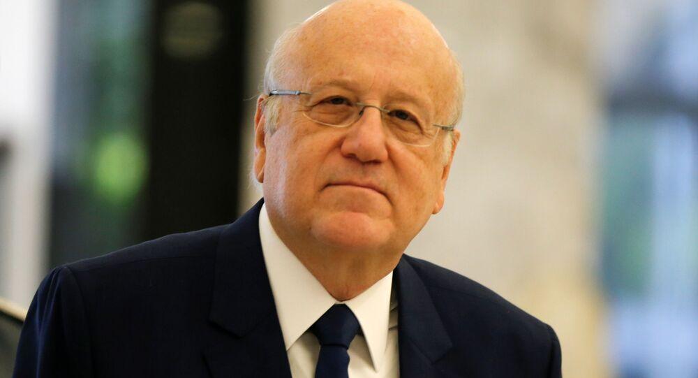 رئيس الحكومة اللبنانية نجيب ميقاتي في قصر بعبدا، لبنان 13 سبتمبر 2021