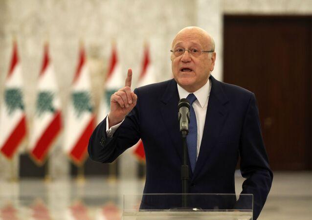 رئيس الحكومة اللبنانية نجيب ميقاتي في قصر بعبدا، لبنان 10 سبتمبر 2021