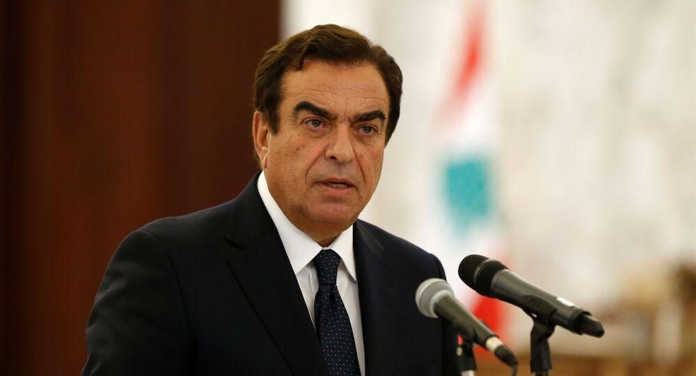 وزير الإعلام جورج قرداحي، بيروت، لبنان 13 سبتمبر 2021