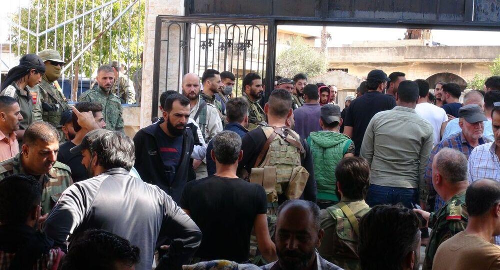 الجيش السوري يدخل المزيريب، الحدود الأردنية السورية، سوريا 15 سبتمبر 2021