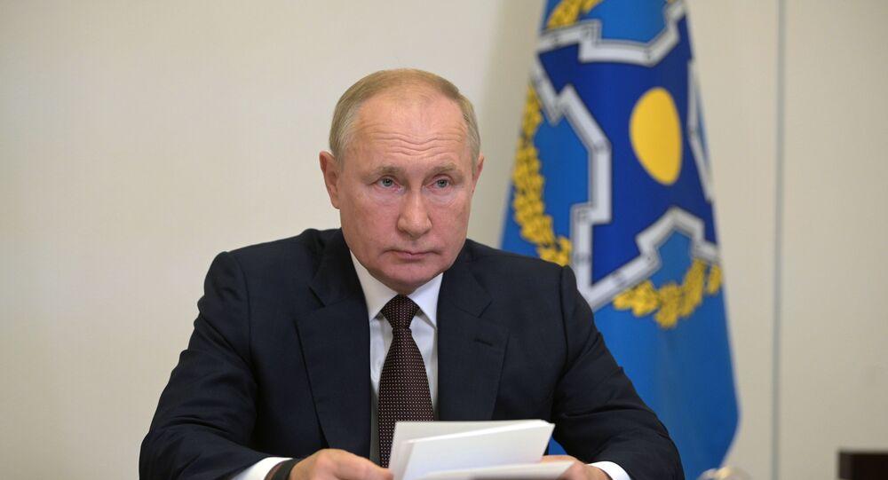 الرئيس الروسي فلاديمير بوتين يشارك قمة زعماء دول منظمة الأمن الجماعي، عن طريق الفيديو
