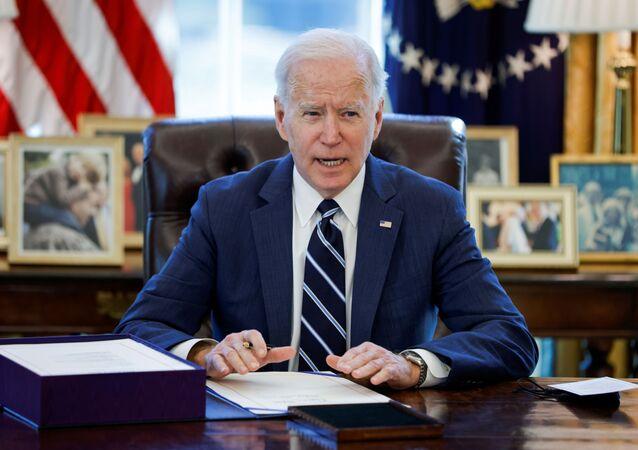 الرئيس الأمريكي جو بايدن، واشطن، الولايات المتحدة 11 مارس 2021