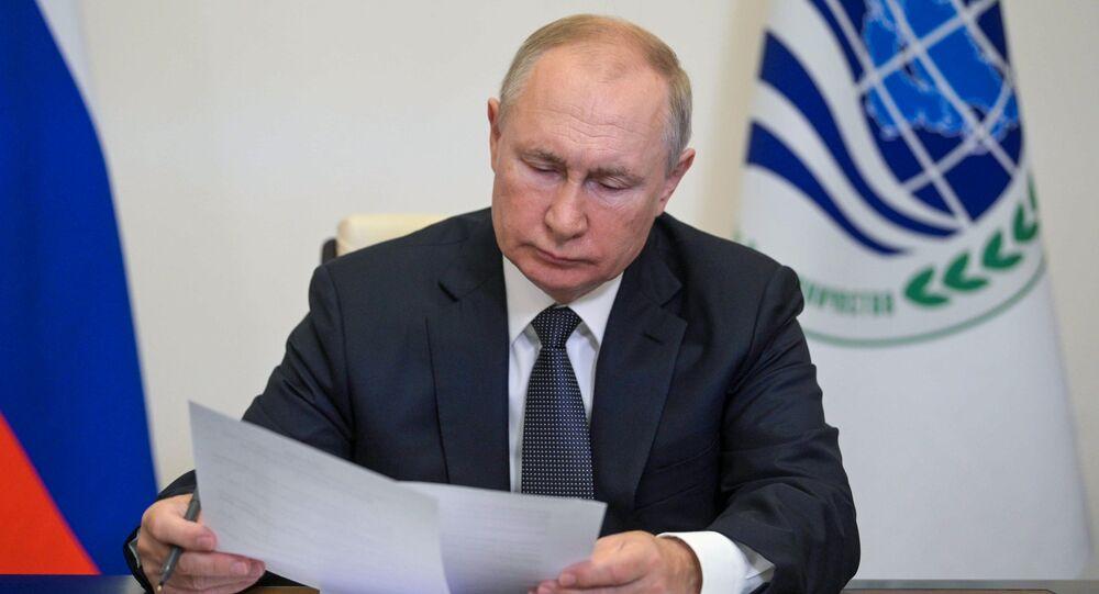 الرئيس الروسي فلاديمير بوتين خلال اجتماع قمة دول منظمة شنغهاي للتعاون