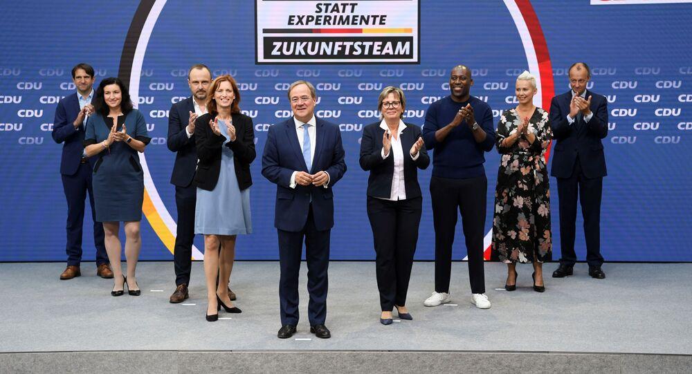 رئيس وزراء ولاية شمال الراين وستفاليا أرمين لاشيت، قائد ائتلاف الاتحاد الديمقراطي المسيحي، المرشح لمنصب مستشار ألمانيا، برلين 3 سبتمبر 2021