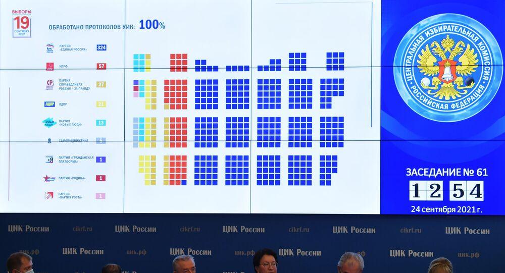 الإعلان عن النتائج النهائية لانتخابات مجلس الدوما الروسي، موسكو، روسيا 24 سبتمبر 2021
