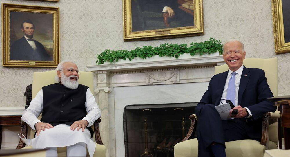 الرئيس الأمريكي، جو بايدن، في لقائه مع رئيس الوزراء الهندي، ناريندرا مودي، في البيت الأبيض، واشنطن، 24 سبتمبر/ أيلول 2021