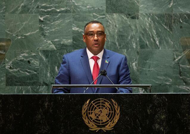 وزير الخارجية الإثيوبي، ديميكي ميكونين، خلال كلمته للجمعية الـ76 للأمم المتحدة، 25 سبتمبر/ أيلول 2021