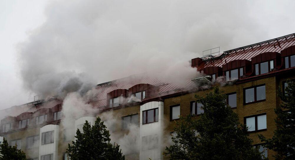 انفجار  في المبنى في وسط غوتنبرغ على الساحل الغربي من السويد، 28 سبتمبر 2021