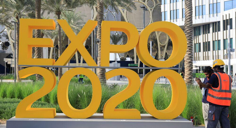 التجهيزات الأخيرة لافتتاح معض إكسبو دبي 2020 في دبي، الإمارات العربية المتحدة 30 سبتمبر 2021