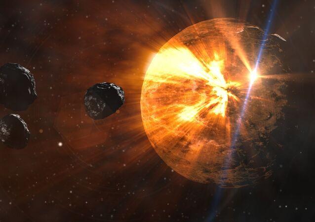 صورة توضح كوكب الزهرة مع بعض أقماره