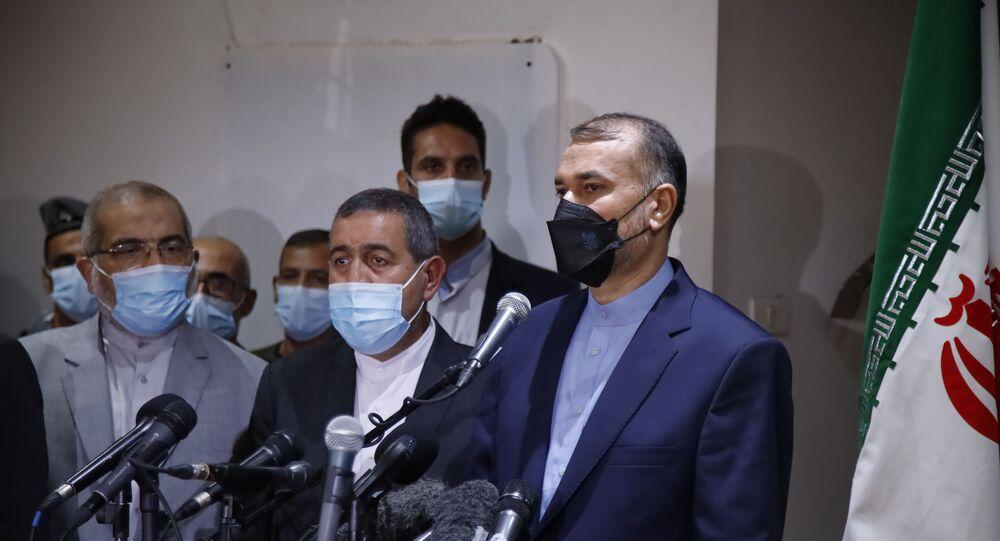 وزير الخارجية الإيراني حسين أمير عبد اللهيان في بيروت، لبنان 7 أكتوبر 2021