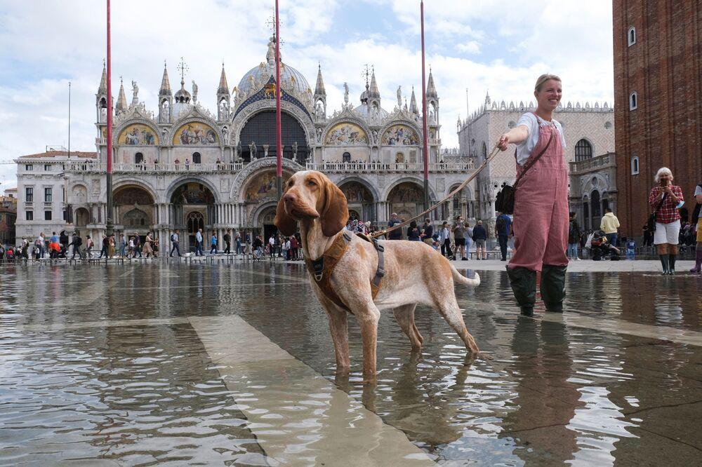 ارتفاع منسوب المياه في مدينة البدقية، إيطاليا 5 أكتوبر 2021