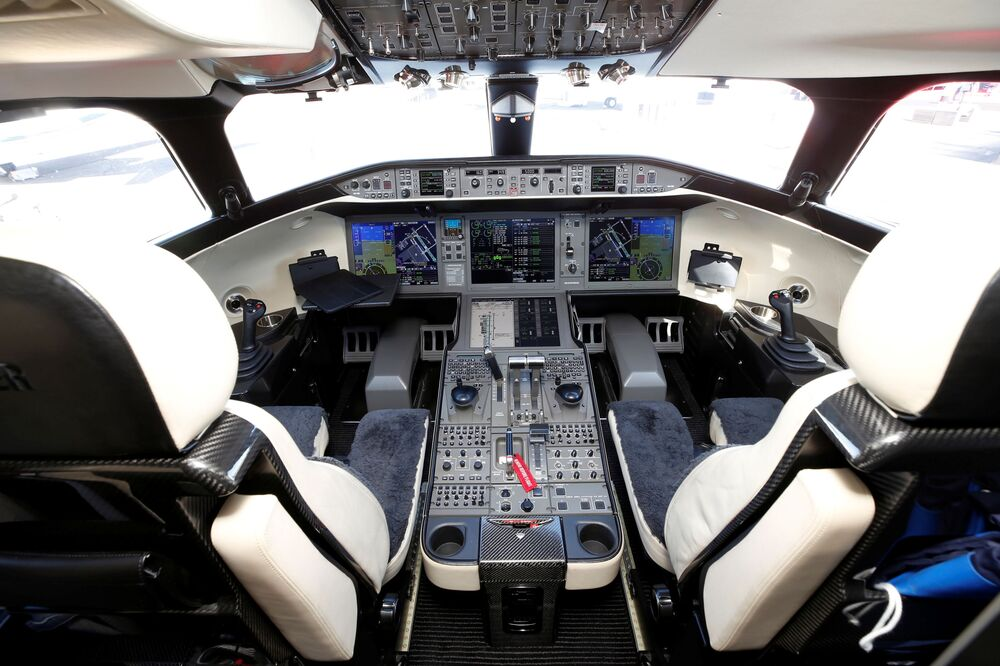 صورة داخل قمرة طائرة رجال الأعمال من طراز VistaJet Global 7500  في مطار هندرسون خلال  مؤتمر ومعرض طيران الأعمال NBAA في هندرسون، ولاية نيفادا، الولايات المتحدة، 12 أكتوبر 2021.