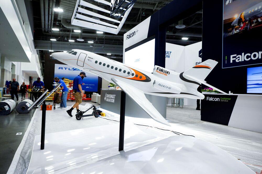 جناح Dassault Aviation في مؤتمر ومعرض طيران الأعمال NBAA في لاس فيغاس، ولاية نيفادا، الولايات المتحدة، 11 أكتوبر 2021.