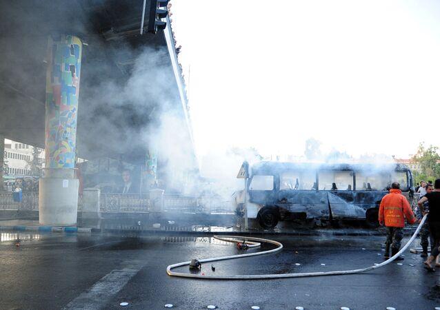 تفجير يستهدف حافلة مبيت عسكري في دمشق، سوريا 20 أكتوبر 2021