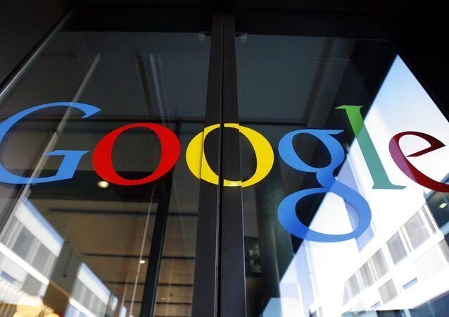Logo of Google on the front door of the new Google European tech center in Zurich, Switzerland