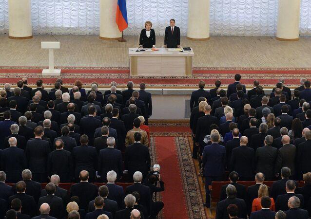 جلسة مشتركة لمجلسي الدوما والاتحاد للبرلمان الروسي