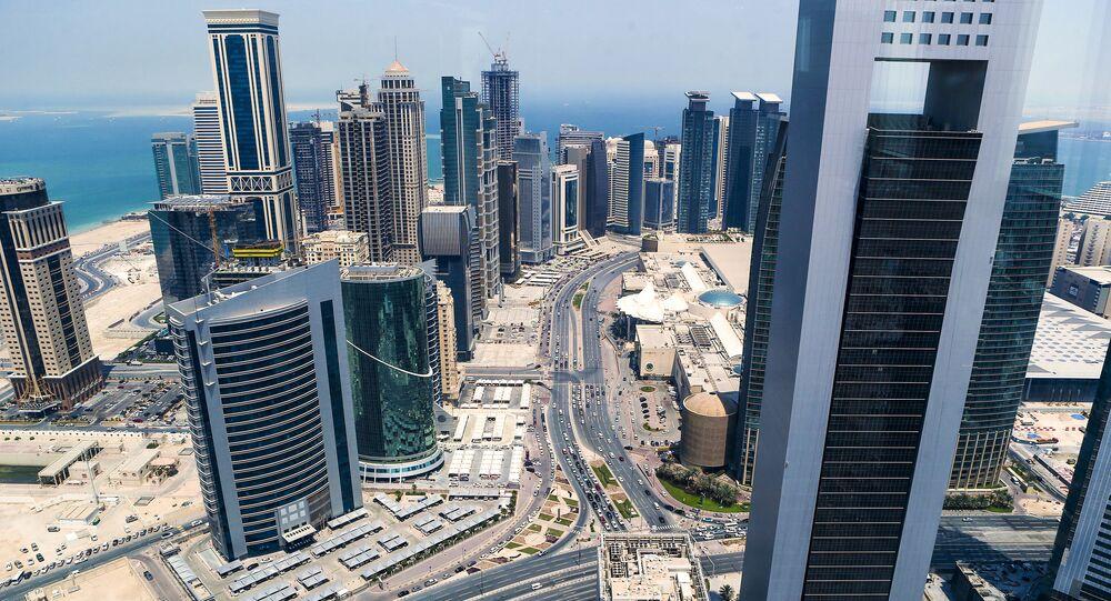 مشهد يطل على مدينة الدوحة من أعلى، قطر.