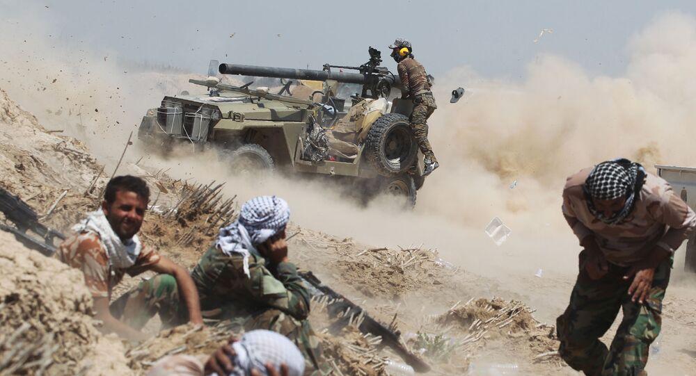 القوات العراقية خلال معاركها مع التنظيم الإرهابي داعش في الفلوجة.