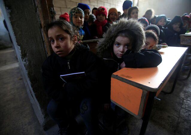 أطفال في مدرسة في حلب، سوريا 30 يناير/ كانون الثاني 2017