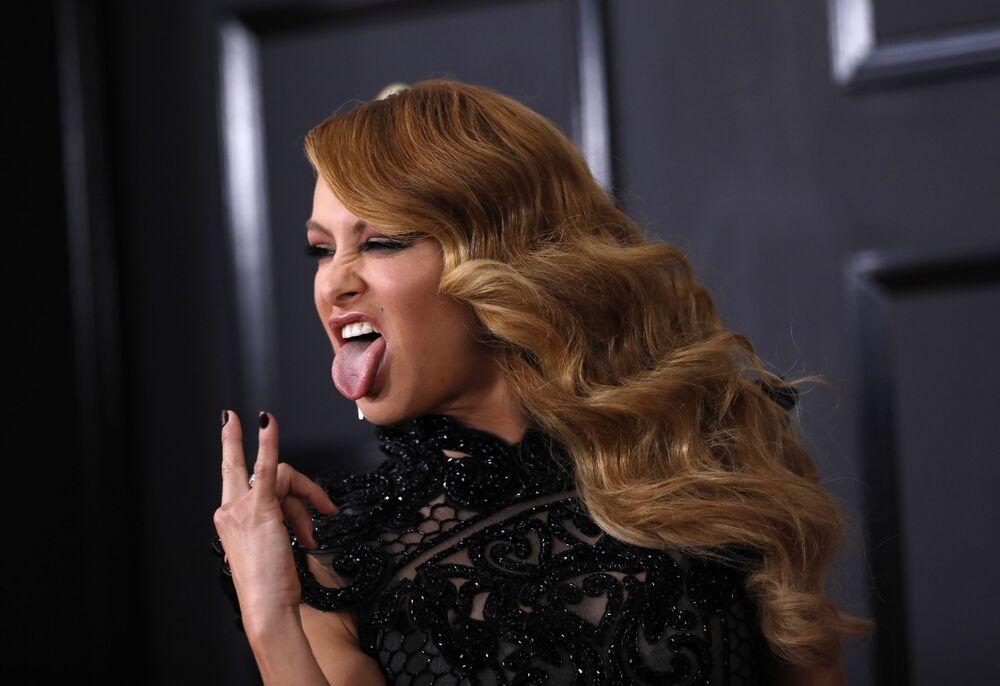 المغنية Paulina Rubio خلال الحفل الـ 59 لتوزيع جوائز غرامي الموسيقية في لوس أنجلوس، كاليفورنيا، الولايات المتحدة 12 فبراير/ شباط 2017