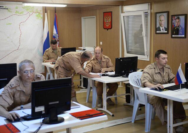 مركز التنسيق الروسي بالقاعدة العسكرية السورية حميميم في سوريا